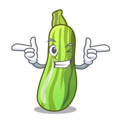 Wink fresh organic zucchini in cartoon bowl vector