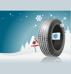 winter tire ready for winter road vector image