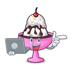 With laptop ice cream sundae character cartoon vector