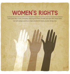 womens rights concept three female raised hands vector image