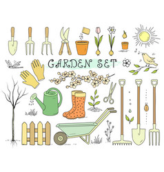 colorful spring garden tools set vector image