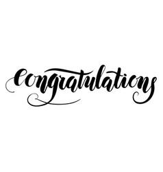congratulations handmade lettering type vector image