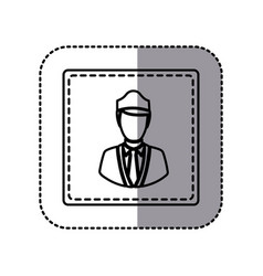 contour emblem guard person icon vector image