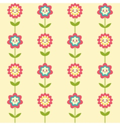 Cute seamless pattern with smiling flowers vector image vector image