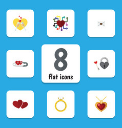 Flat icon love set of key engagement letter and vector