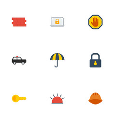 flat icons padlock clue parasol and other vector image vector image