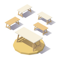 low poly isometric office table vector image vector image