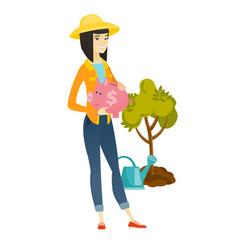 asian farmer holding a piggy bank vector image vector image