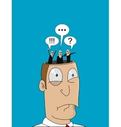 Cartoon man with with different thoughts in his vector image