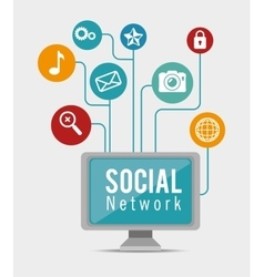 computer social network connection apps vector image vector image