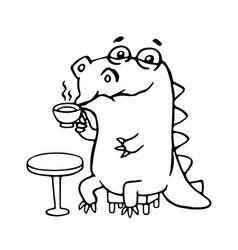 cute dinosaur in cafe cute vector image