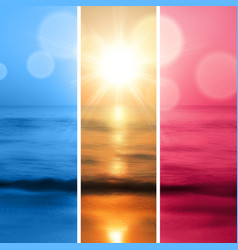 Sea sunset with the sun vector