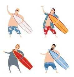 Set of surfers vector image