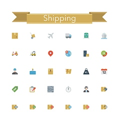 Shipping Flat Icons vector image vector image