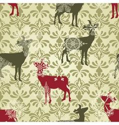 Christmas seamless vintage wallpaper vector image vector image