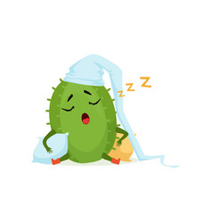 cute cactus in white hat sleeping and snoring vector image