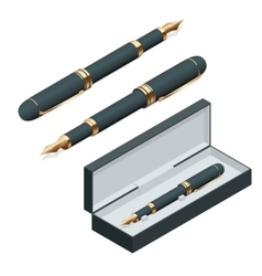 Elegant gold plated business fountain pen isolated vector image