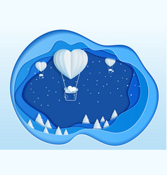 paper art depth concept of christmas with balloon vector image