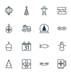 set of 16 holiday icons includes tree toy gift vector image vector image