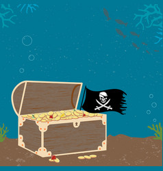 vitage poster with treasure cheast and pirate flag vector image vector image