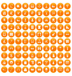 100 amusement icons set orange vector