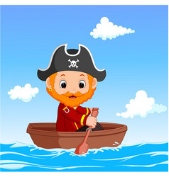 cartoon little pirate was surfing the ocean vector image vector image