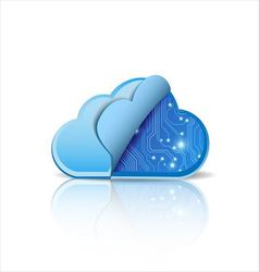 Cloud computing with electronic circuit vector image vector image