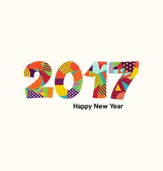 happy new year 2017 fun color typography design vector image