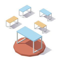 lowpoly isometric office table vector image