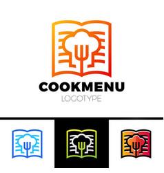 Recipe or cooking book logo template design menu vector