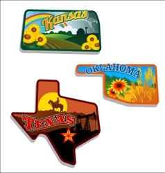 Retro of Kansas Oklahoma Texas vector image vector image