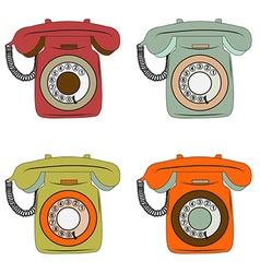 retro phone items set on white vector image