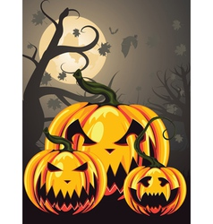 Scary Pumpkins in Forest2 vector image vector image