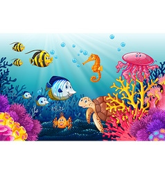 Scene with lives underwater vector image