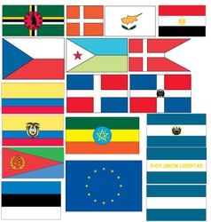Set of 18 flags of countries started with c d e vector