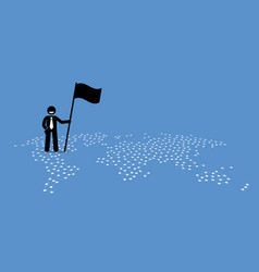 A businessman holding flag and standing on top vector