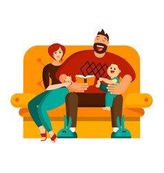 a happy family spends their leisure time together vector image