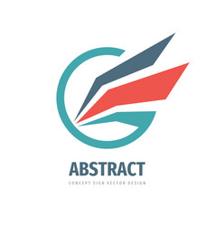 abstract wing in circle - concept logo design vector image