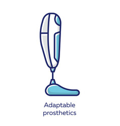 Adaptable prosthetics blue color icon missing vector
