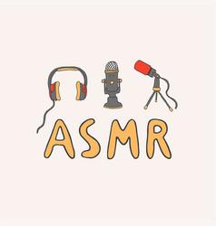 Asmr logo emblem including equipment vector