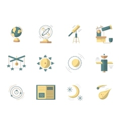 Astronomy flat colored icons vector image