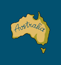 australia continent in doodle style vector image