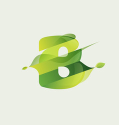 B letter eco logo with green diagonal stripes vector