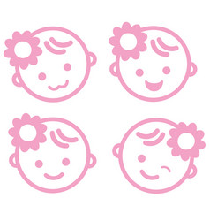 Bagirl face icon symbol isolated background vector