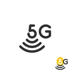 black simple 5g wireless logo vector image