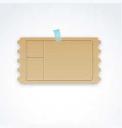 Blank ticket template with cardboard texture vector