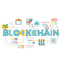 blockchain word lettering vector image
