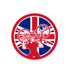 British bike mechanic union jack flag mascot vector