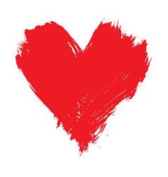 brushstroke painted red heart shape vector image