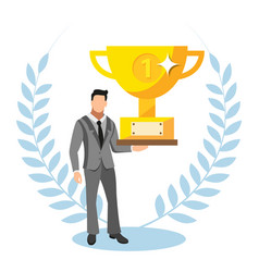 business man holding a trophy for top sale and vector image